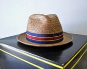amazing 1950s vintage natural Straw Fedora Cavanagh hat // 1950s vintage hat    // Cocoanut hat //hat box