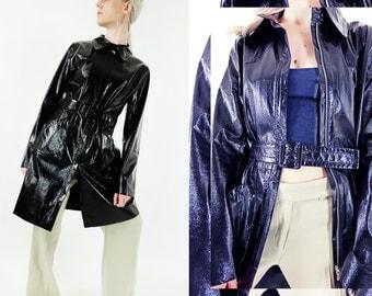 AGNES B Vtg Patent Leather-effect Coat