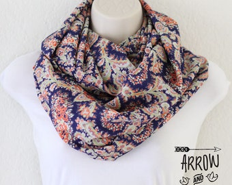 Extra Wide Oversized Coral and Blue Paisley Floral Infinity Scarf, Loop Scarf, Circle Scarf