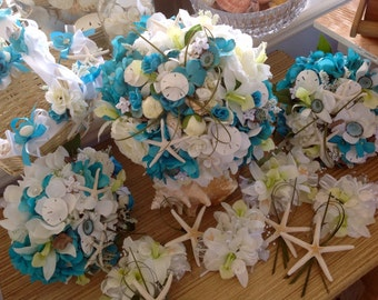 Driftwood Seashell Beach Wedding Package MIX AND MATCH with Bouquets Corsages Boutonnieres and Flower Girl All Custom Made Orders