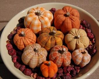 Primitive Fall Thanksgiving, Homespun Pumpkin Ornies, Mixture of Prints #2