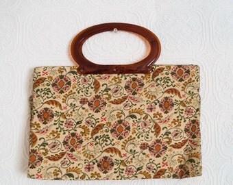 Vintage Modular Tote Bag Retro Purse Tapestry Motif Amber Lucite Handle 1950s
