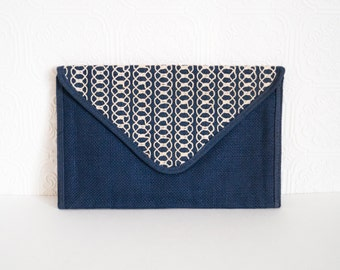 Vintage Clutch Woven Envelope Fold Over Flap Blue and White