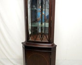 Vintage Antique Mahogany China Corner Cabinet Display Curio Duncan Phyfe Sheraton Regency Mirrored Back Glass Shelves