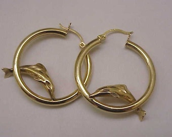 Estate Vintage 14k Yellow Gold Dolphins Earrings , 1950s