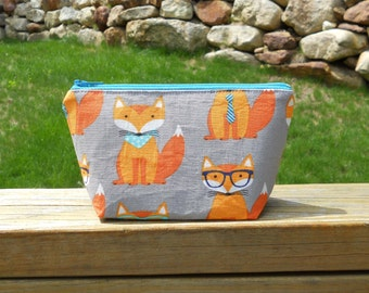 Extra Small Makeup Bag, Swanky Foxes, Cosmetic Bag, Purse Organizer, One of a Kind