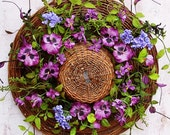 Spring Wreath-Spring Decor-Spring Door-Front Door Wreath-Summer Wreath-Cottage Wreath-Country Wreath-WILLOW FLORAL PANSY Hat Door Wreath