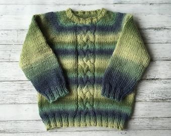 hand knit child sweater size 3-4