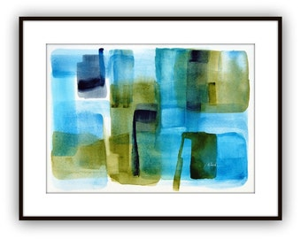 Original abstract watercolor painting, Title 'Winter Garden', blue, green, indigo, mid century style, retro