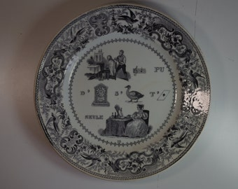 Antique Rebus French Plate Dessert Plate