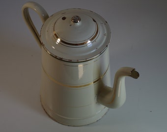 Tall Vintage Cream Gold Enameled Tea Coffee Pot Enamelware