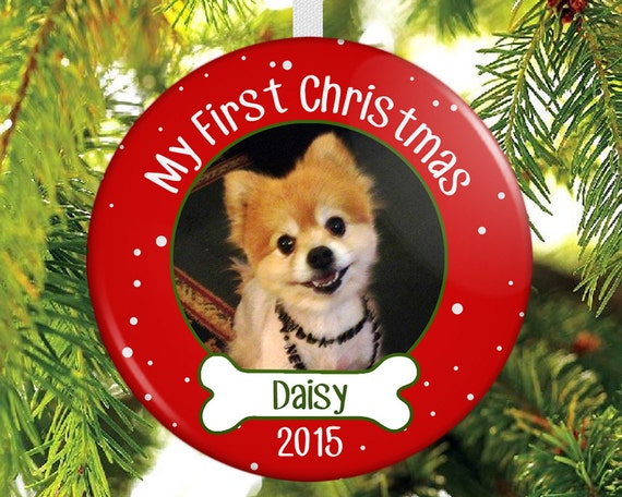 Printed Photo Pet First Christmas Ornament