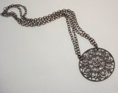 Medallion Necklace, Vintage 90's Rhinestone Filigree Medallion Pendant, Gunmetal Silver, Bohemian Chain Necklace, Boho Chic Necklace