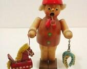 Antique Wooden Incense Burner Smoker, Vintage German Man With Hobby Horse Incense Burner, Made In Germany