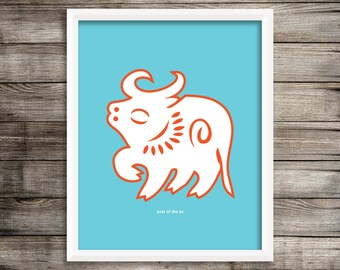 Year of the Ox Modern Home Decor Wall Art  8X10 ~ Digital Download.