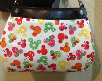 Mickey Mouse Minnie Mouse fruity heads on white SUITE skirt Purse Skirt HANDMADE Thirty One skirt