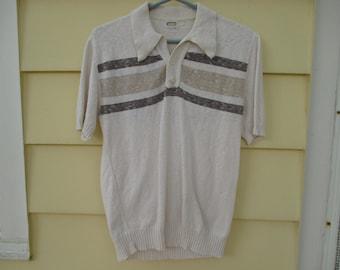 Vintage 1970s Mens Knit Shirt Pullover Large
