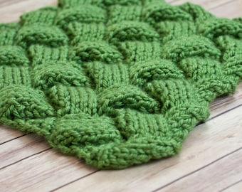 Mini blanket, newborn prop, mini green blanket, knitted basket stuffer blanket, newborn photography, basket stuffer, layering blanket,