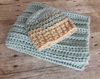 Aqua Stroller blanket, car seat blanket, newborn boy hat, newborn prop, knitted basket stuffer blanket, newborn baby gift, shower gift set