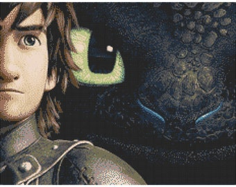 How To Train Your Dragon 14 Count Cross Stitch Chart / Kit