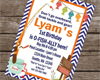 GONE FISHING Happy Birthday Party or Baby Shower Invitations Set of 12 {1 Dozen} - Party Packs Available