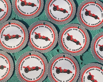 RACE CAR Happy Birthday Party or Baby Shower Favor Tags One Dozen (12) Pink Navy - Party Packs Available
