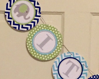SWEET ELEPHANT Baby Shower or Happy Birthday Party Banner Lime Blue Aqua - Party Packs Available