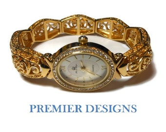 Premier Designs Ladies watch, stretch gold plated, filigree, open scroll work women's bracelet watch with crystals surrounding the face