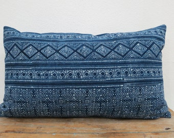 "Cotton Batik,20""x12""Vintage Textile Decorative Cushion cover,Lumbar Pillow, Tradition Ethnic fabric from Thailand"