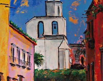 """Original  painting on canvas of Mexican white church in San Miguel de Allende  26.5""""  x  35.75"""""""