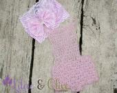 Newborn Baby Girl Crochet Pink Romper and Headband Set, Newborn Mohair Romper, Lace Headband, Knit Romper Outfit, Newborn Photo Prop