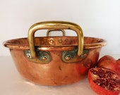 RESERVED for K Vintage French Heavy Copper Roll Top Confiture Pot....3000g
