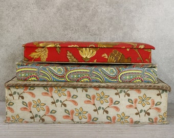 LOT of THREE Vintage Vintage French Padded Chocolate Boxes....Good Condition.....Bargain!