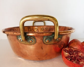 Vintage French Heavy Copper Roll Top Confiture Pot....3000g