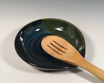Spoon Rest - Monet Blue Green - Kitchen- ceramics - pottery - stoneware- ceramics - pottery - stoneware