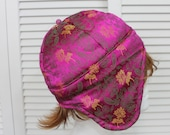 Vintage India/Tibetan Artisan Pink Brocade Trapper Hat Rare Size Medium/Large