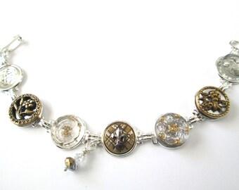 Fleur de lis RARE antique button bracelet, 1800s buttons, TWO TONE gold & silver