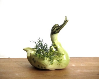Hull Swan Green Feathered Ceramic Duck Trinket Bowl Duck Soap Dish Mini Planter Ashtray USA