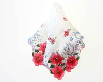 Vintage Red Lily Hankie Scalloped Edge White on White Blue Accents