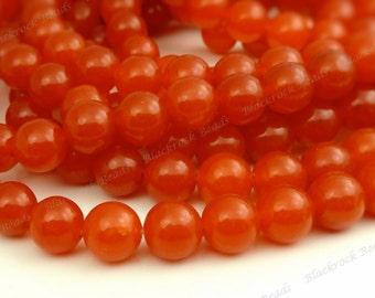 8mm Red Orange Jade Round Gemstone Beads - 15.5 Inch Strand - BG12