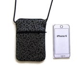 Cell Phone Purse, iPhone Purse, Small Purse, Cell Phone Bag, Metallic Silver on Black