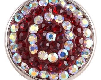 1 PC - 18MM Dark Red White Swirl Rhinestone Silver Charm for Candy Snap Jewelry KC2743 Cc2305