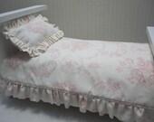 "Bedding for 18"" doll 2 piece Comforter Set RTS romantic Ralph Lauren fabric"