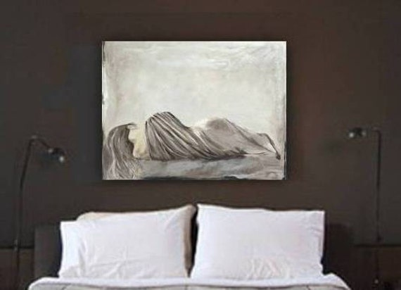 Very Large Wall Art Huge Sexy Bedroom Greige Decor Canvas