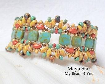 SuperDuo Beaded Bracelet,Beadwoven Bracelet,Seed Bead Bracelet,Beadwork,Embellished Bracelet,Turquoise Bracelet, SuperDuo Beads, MyBeads4You