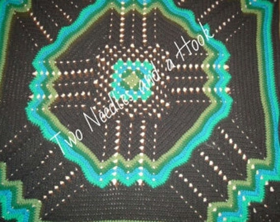 Hand crocheted King size afghan/bedspread/comforter multi purple and black