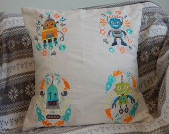 Embroidered Robot cushion cover, home decor,pillow cover,soft furnishings, boys