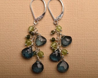 London Blue Topaz Earrings, Blue Topaz Green Tourmaline Earrings, December Birthstone, Long Dangle Gemstone, Healing Gemstone