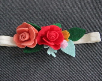 Felt Flower Headband, baby girl felt flower headband, girl felt flower headband