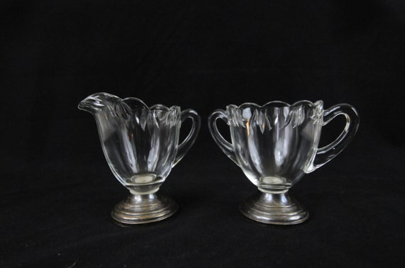 Vintage Fina Sterling Silver Footed Elegant Crystal Cream & Sugar Bowl